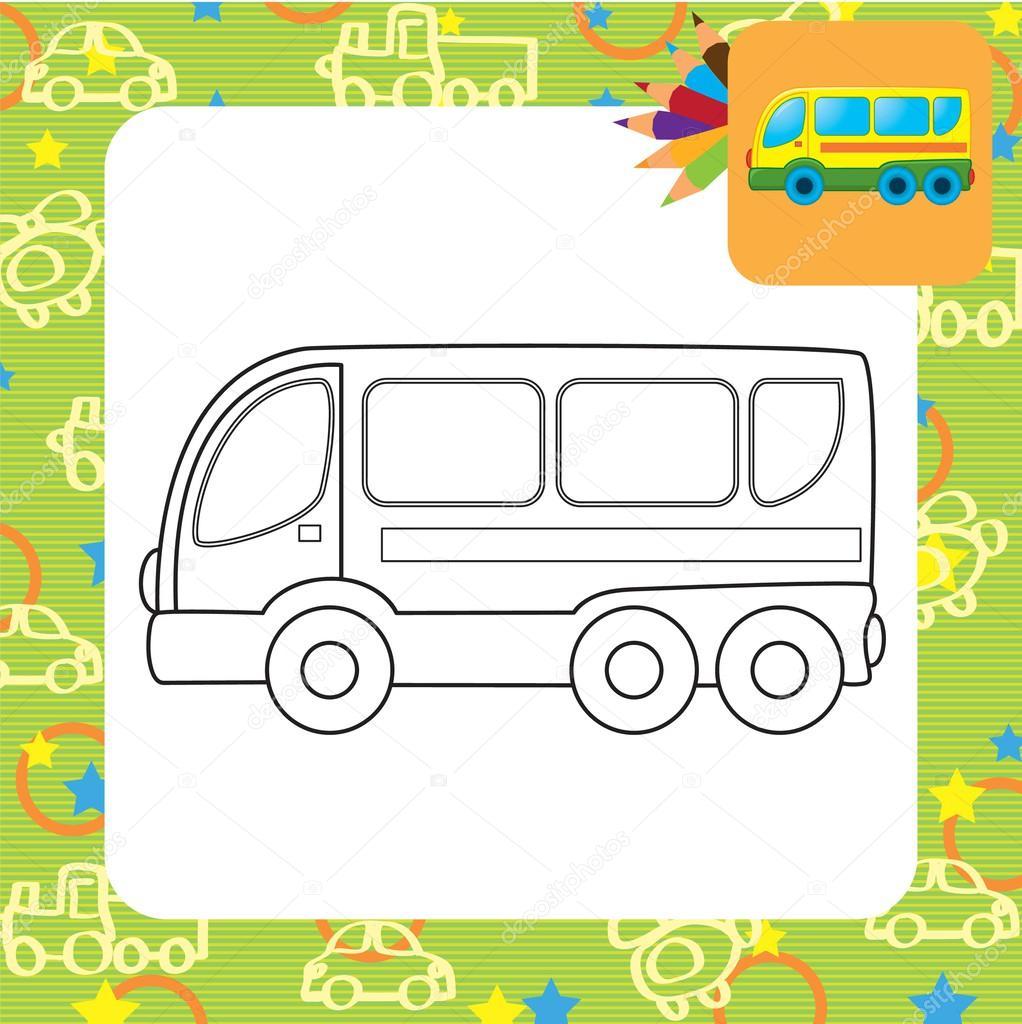 Otobüs Oyuncak Boyama Sayfası Stok Vektör Arnica83 45280997