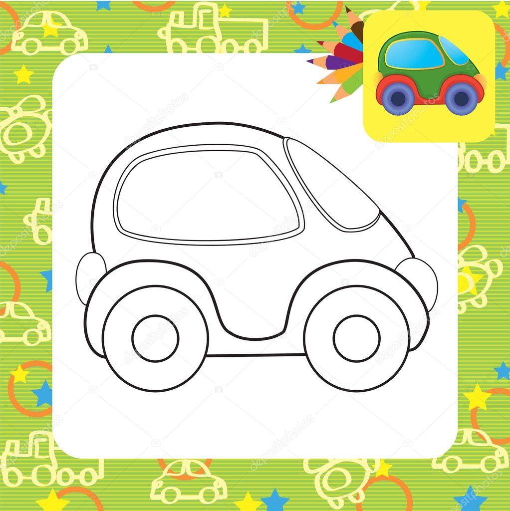 coche de juguete de Vector. Página para colorear — Vector de stock ...