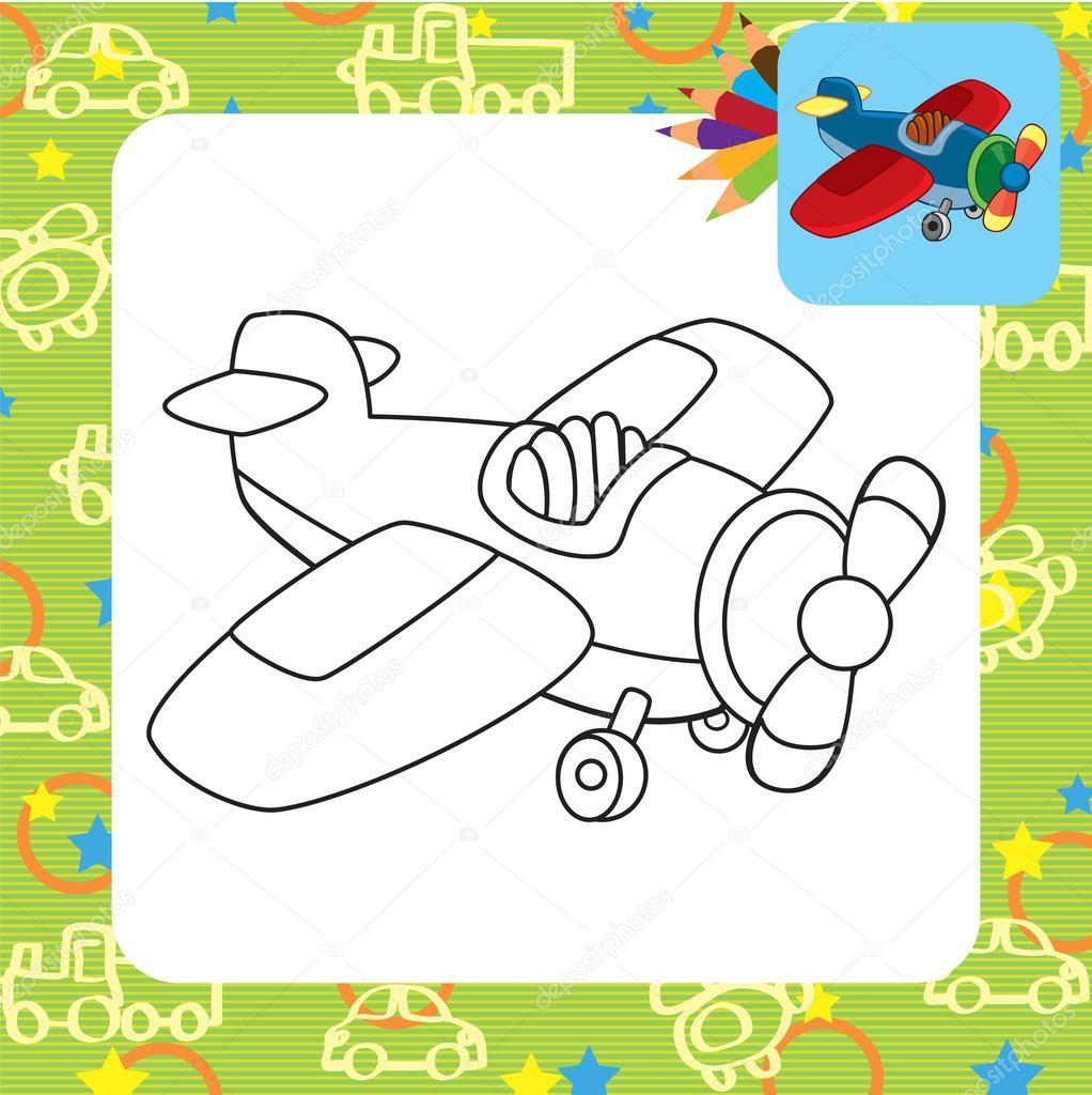 Oyuncak Uçak Boyama Sayfası Stok Vektör Arnica83 45281271