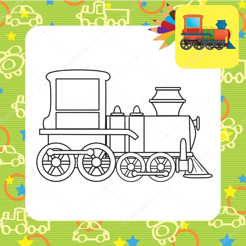 Oyuncak Tren Boyama Sayfası Stok Vektör Arnica83 45281421