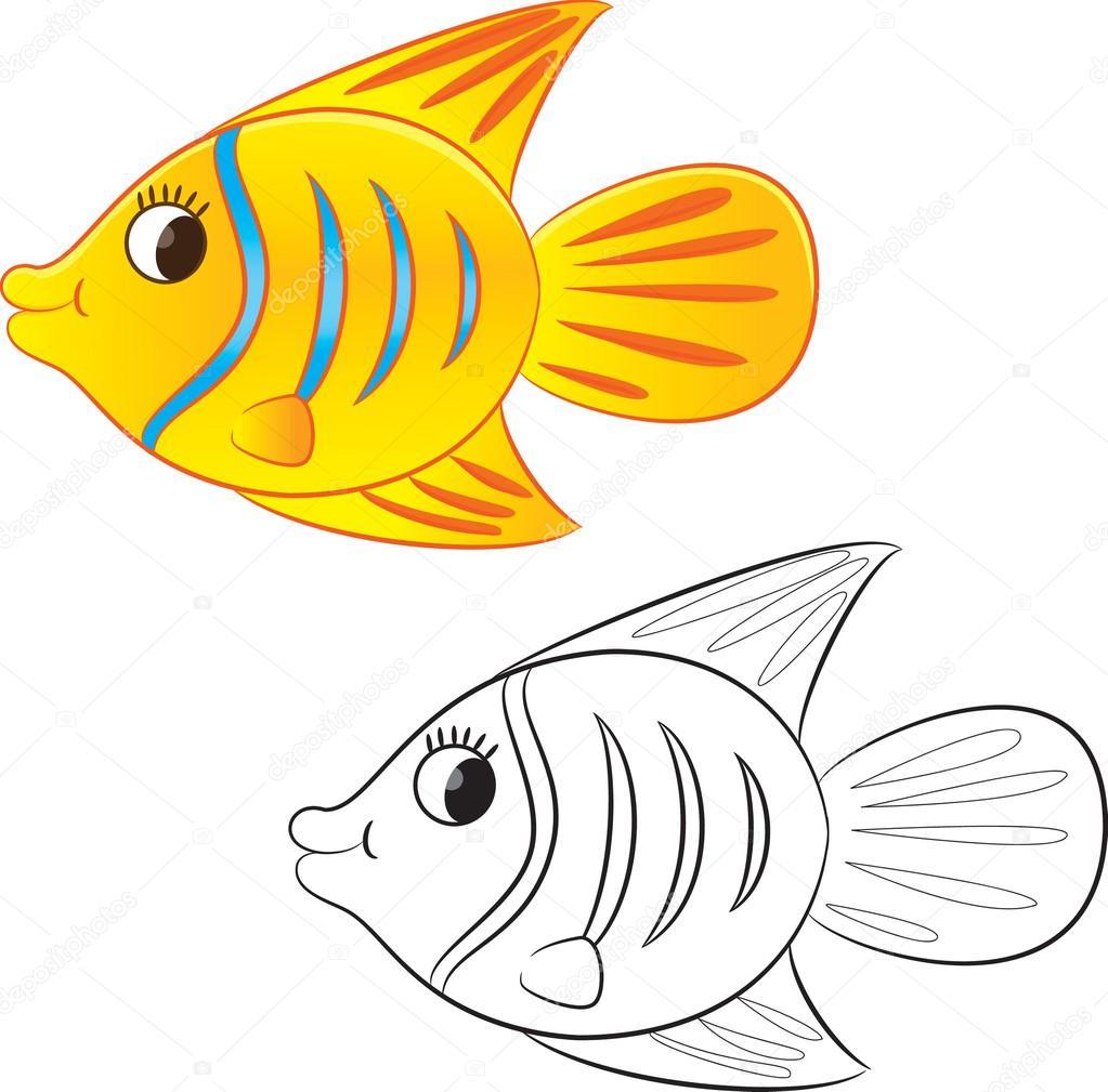 Balık Karikatür Boyama Sayfası Stok Vektör Arnica83 45296433