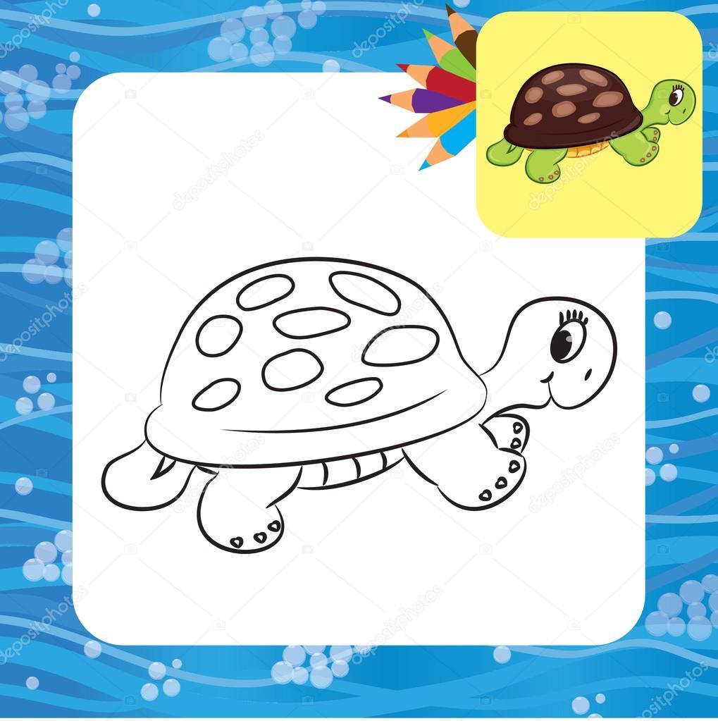 Cartone animato tartaruga pagina da colorare — vettoriali