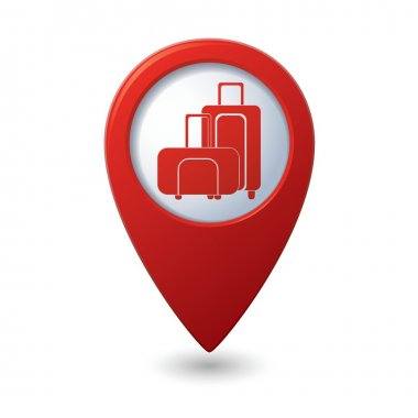 Red map pointer with suitcase icon