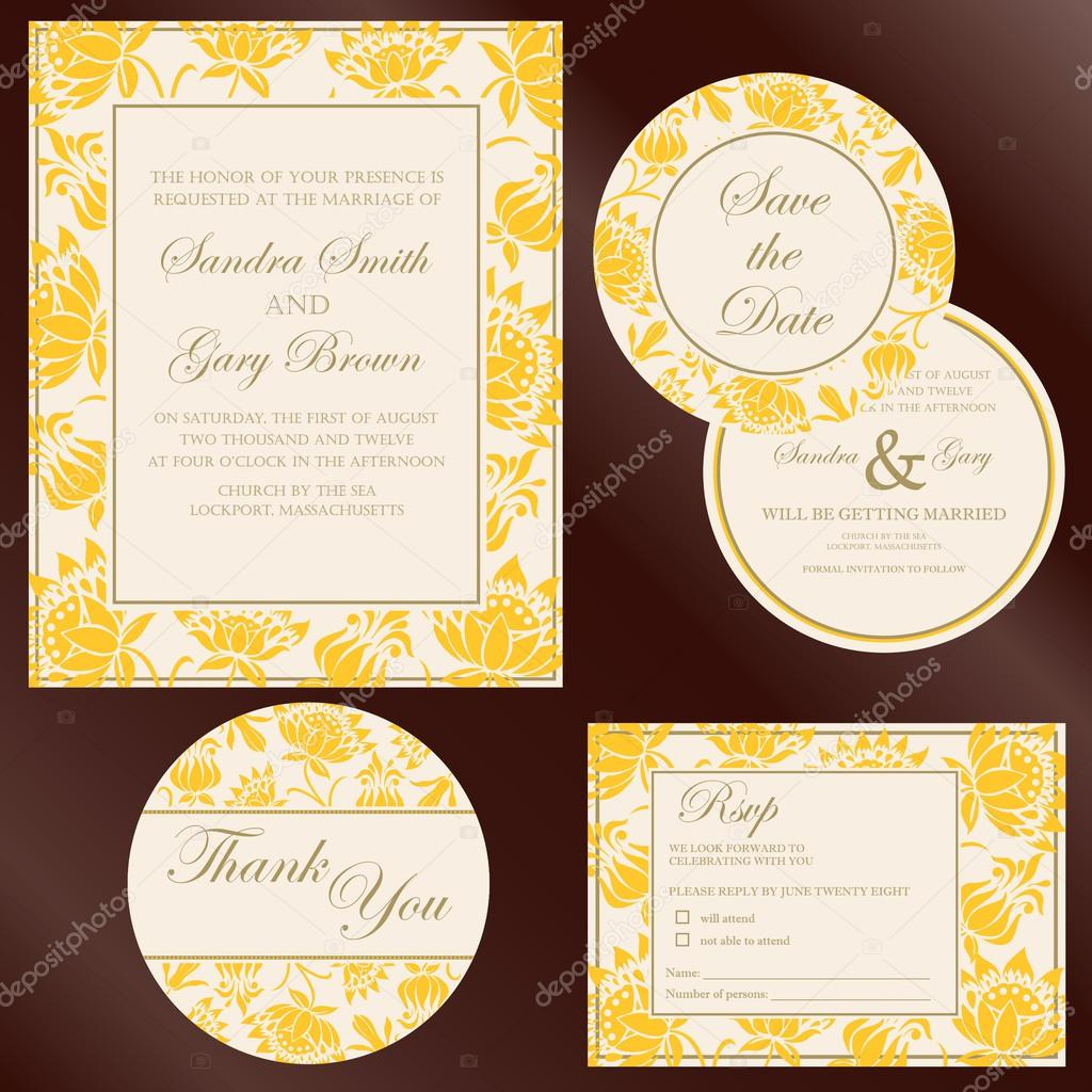 Set of wedding invitation cards invitation thank you card rsvp set of wedding invitation cards invitation thank you card rsvp card save stopboris Choice Image