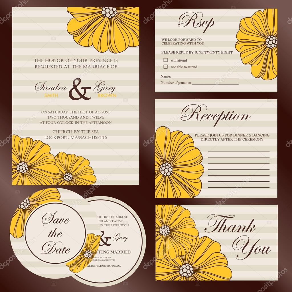 Set of wedding invitation cards invitation thank you card rsvp set of wedding invitation cards invitation thank you card rsvp card save stopboris Images