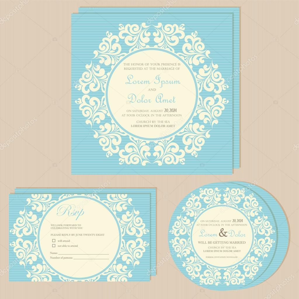 Schöne Blaue Hochzeit Einladungskarten Set U2014 Vektor Von ARNICA83