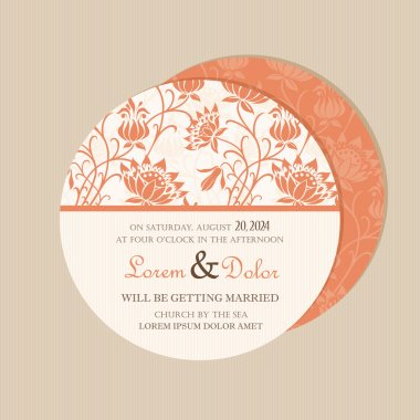 Round, double-sided  floral wedding invitation card.