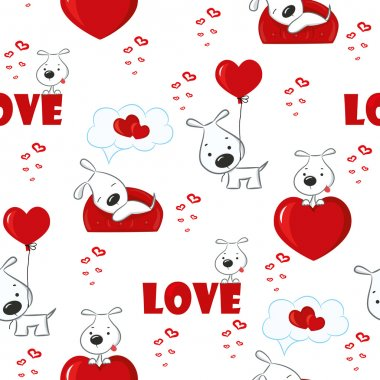 Cute background with dogs and hearts