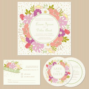 Set of wedding invitation cards  with flowers