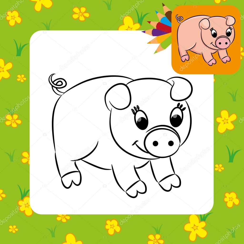 Cartoon Pig Coloring Page Vector Image By C Arnica83 Vector Stock 46813549