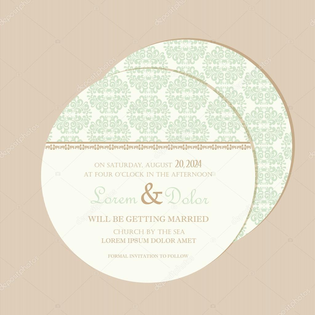 Carto do convite do casamento do vintage redondo dupla face carto do convite do casamento do vintage redondo dupla face vetores de stock stopboris Image collections