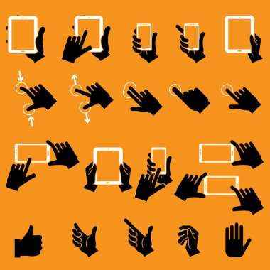 Hand Touching Mobile Phone and Digital Tablet,vector