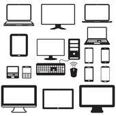 notebook, tabletový počítač, monitor a mobilní obrazovku