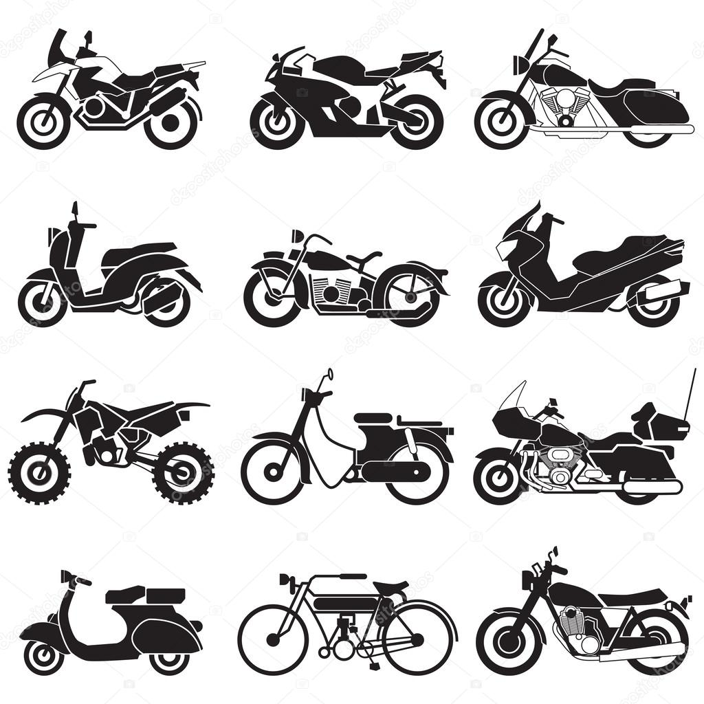 Motorcycle Icons set  Vector Illustration