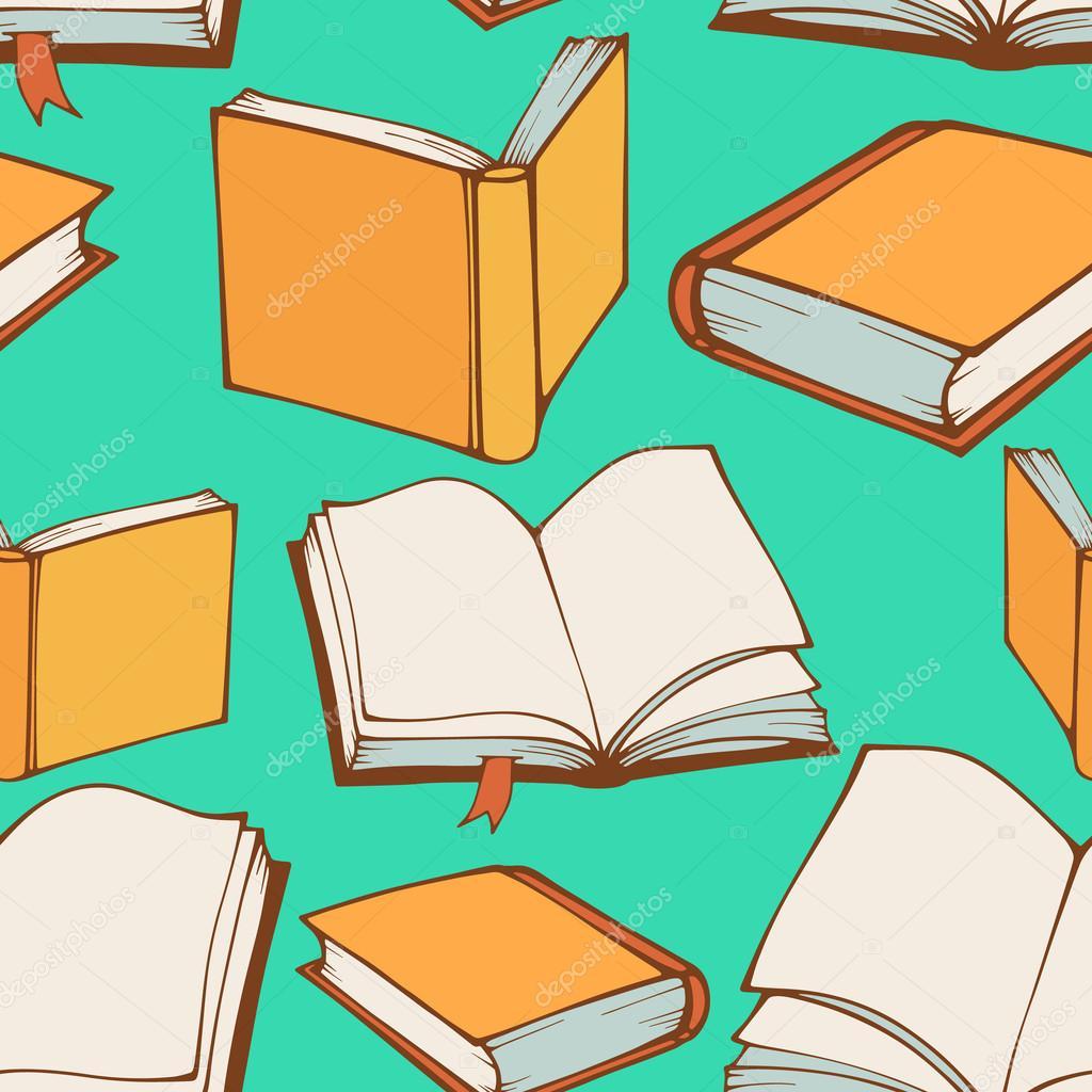 Dekorative Bücher nahtlose muster mit handgezeichneten dekorative bücher — stockvektor