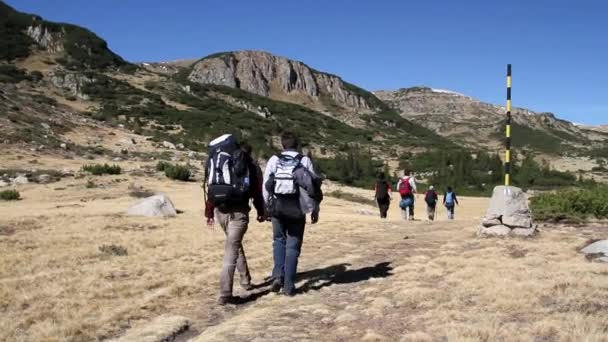Hikers walking on a mountain trail