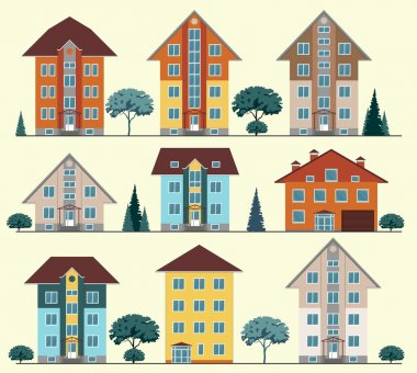 Collection of buildings and houses, vector