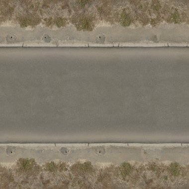 Seamless texture of asphalt road in dark grey tone with clean, smooth surface and rough edges.