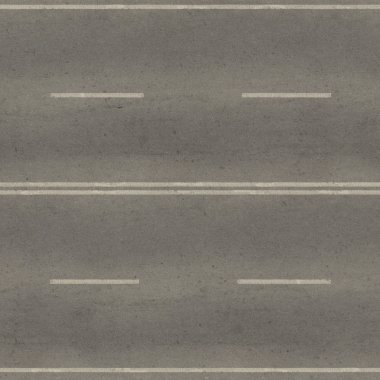 Seamless texture of grey, slightly worn road with white stripes.