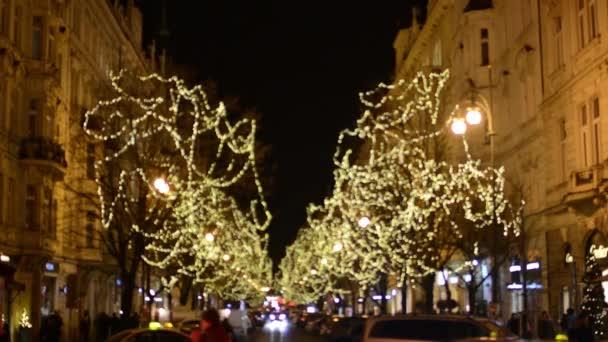 Vánoční pařížské ulice s lidmi, zářící stromy a auta (rozmazaný záběr) - v noci