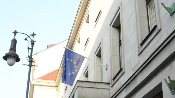 vlajka Evropské unie na státní stavební a bezpečnostní kamery