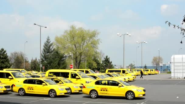 Car park with taxi cars