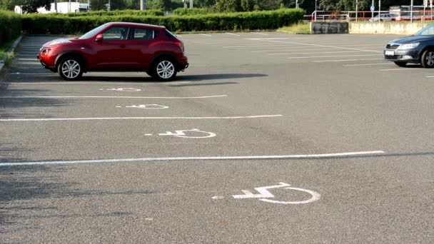 Parking spaces in the parking lot for the disabled - busy urban street with passing cars in background - green bushes