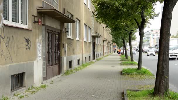 městské ulice s silniční - budovy (byty) - stromy a dlažba - projíždějících aut
