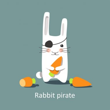 Vector illustration - cute rabbit pirate