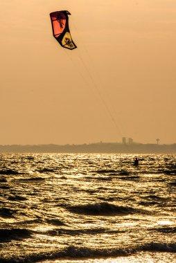 Kitesurfer at late afteroon