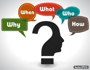 Thinking head question diagram of what when where why who how for root cause analysis - vector eps10