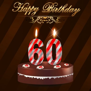 60 Year happy birthday hard with cake and candles, 60th birthday - vector EPS10
