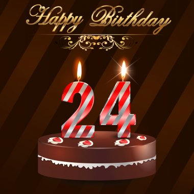 24 year happy birthday hard with cake and candles, 24th birthday - vector EPS10