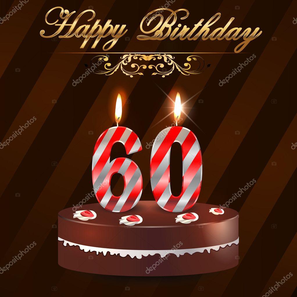 60 ans joyeux anniversaire dur avec gteau et bougies 60e anniversaire vector eps10 illustration