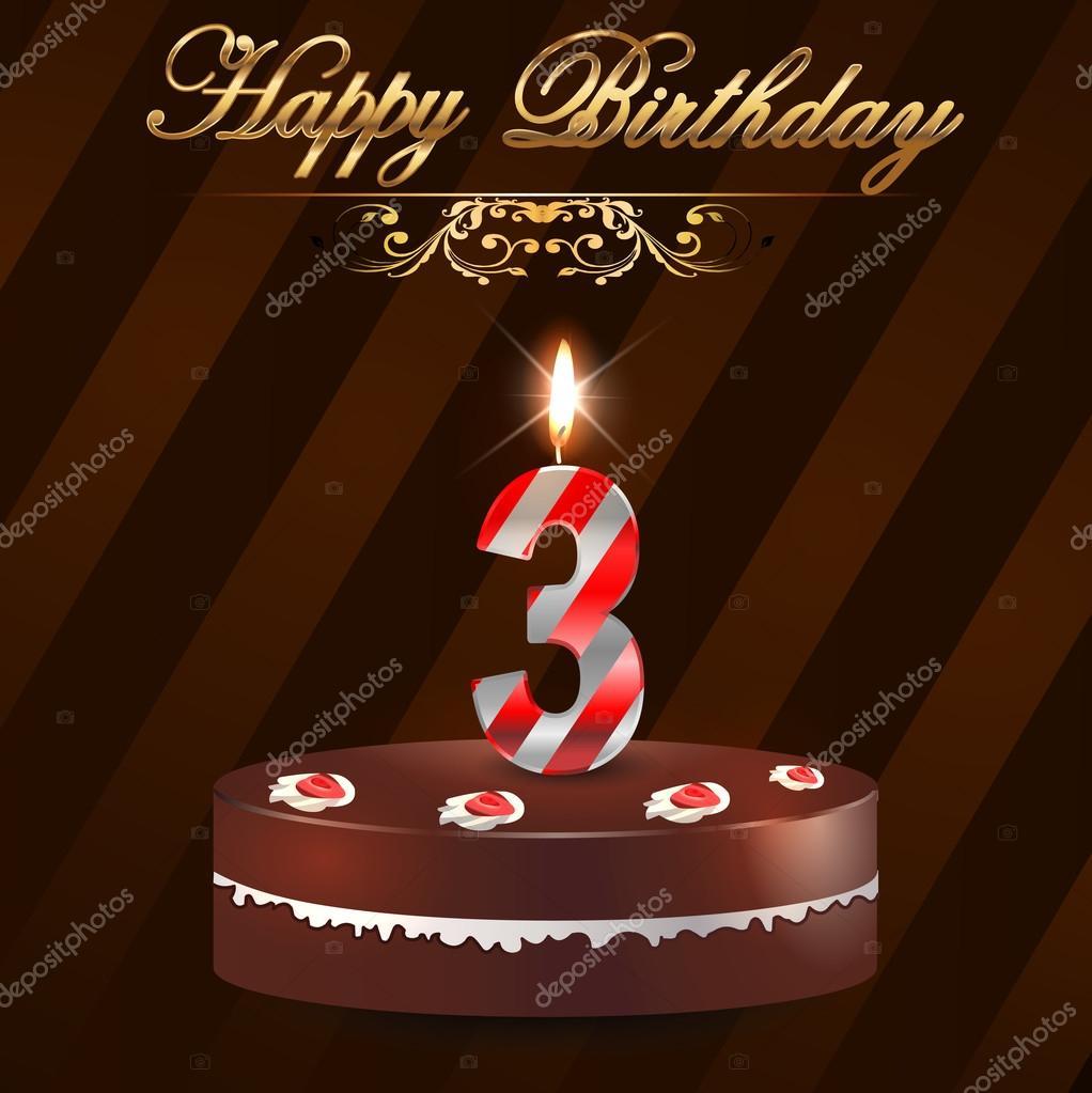3 Jahre Alles Gute Zum Geburtstag Schwer Mit Kuchen Und Kerzen 3