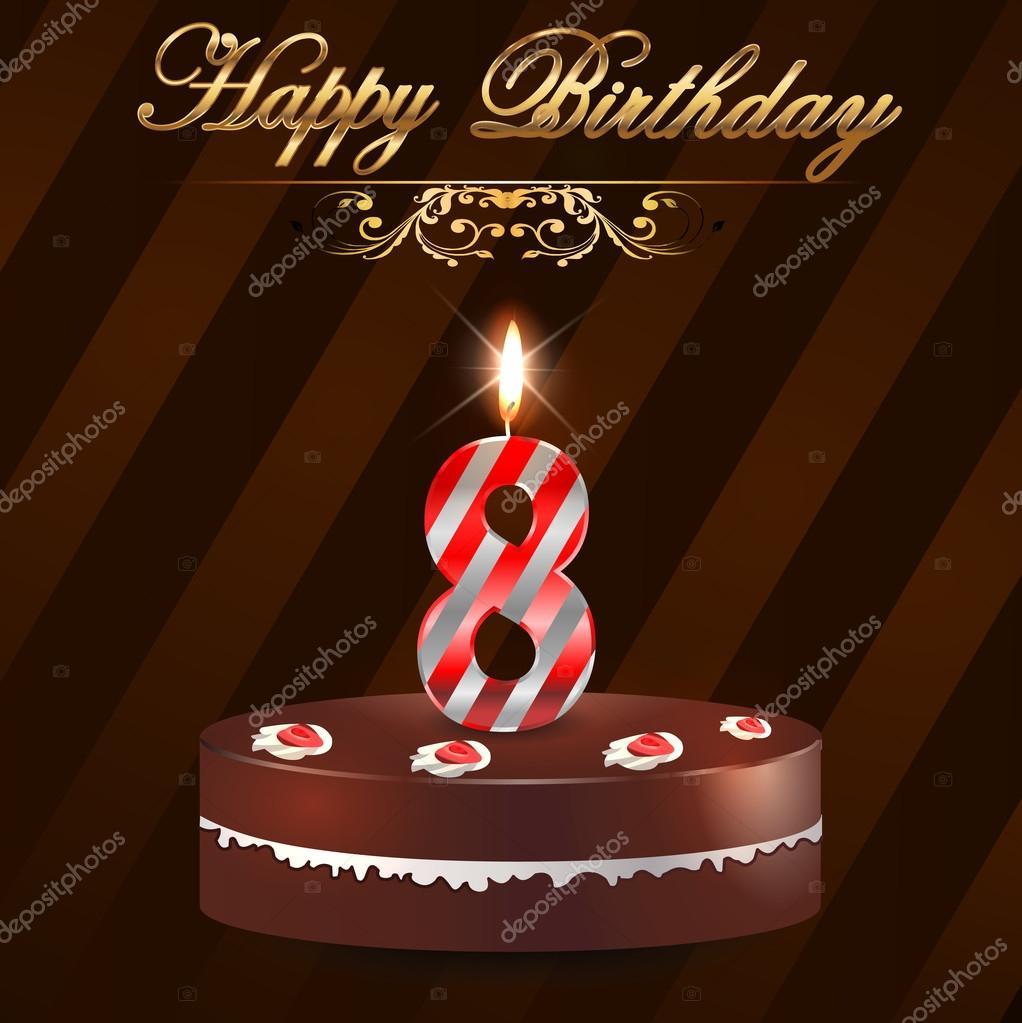 grattis på 8 årsdagen 8 år Grattis hårt med tårta och ljus, 8: e födelsedag   vektor  grattis på 8 årsdagen