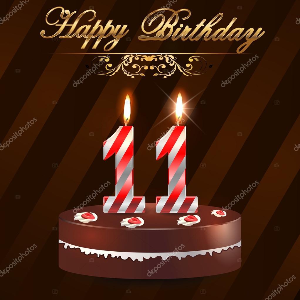 grattis 11 år 11 år Grattis hårt med tårta och ljus, 11: e födelsedag   vektor  grattis 11 år