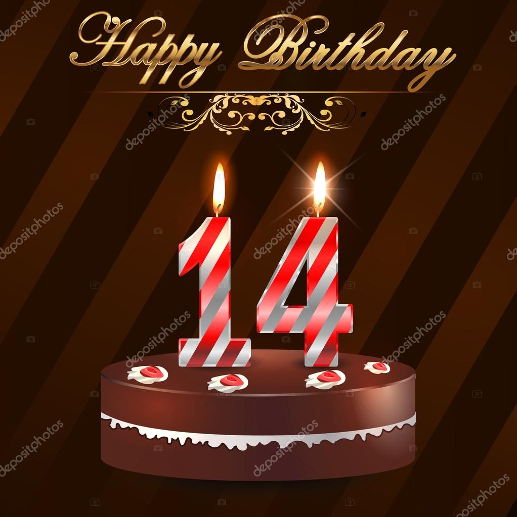 14 year happy birthday hard with cake and candles, 14th birthday - vector EPS10 —