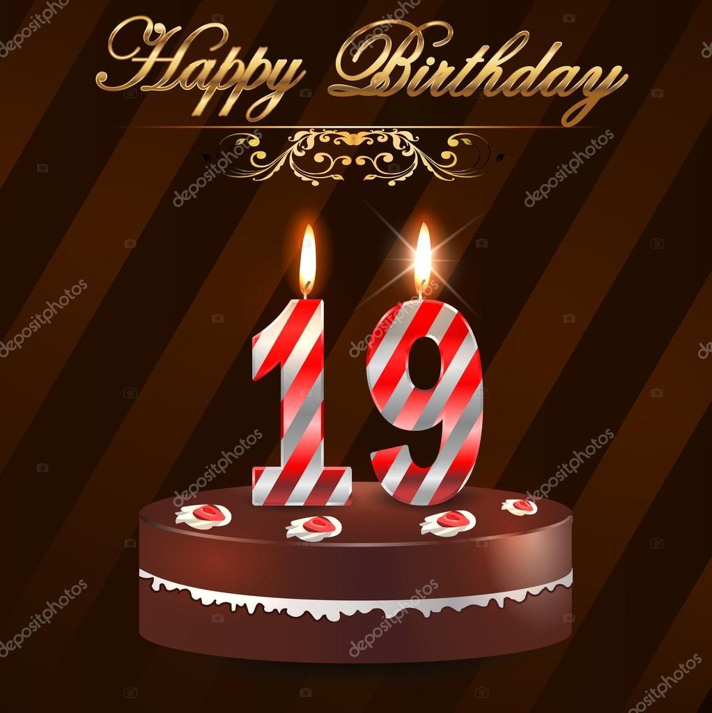 19 Jaar Gelukkige Verjaardag Hard Met Taart En Kaarsen 19e