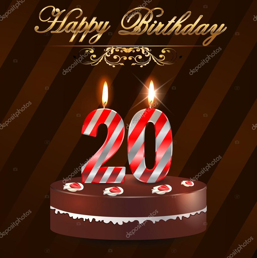 20 year happy birthday hard with cake and candles 20th birthday 20 year happy birthday hard with cake and candles 20th birthday vector eps10 bookmarktalkfo Choice Image