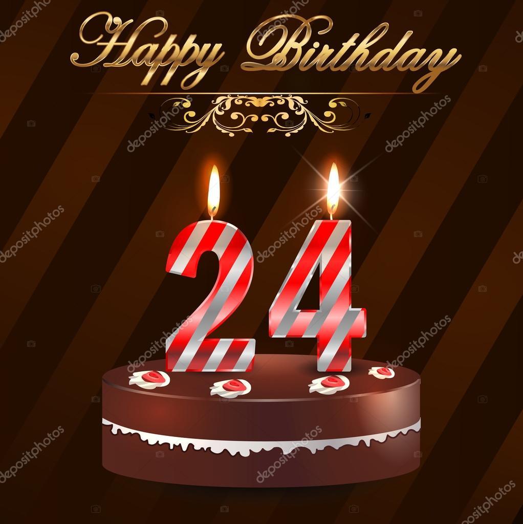 24 Jaar Gelukkige Verjaardag Hard Met Taart En Kaarsen 24e