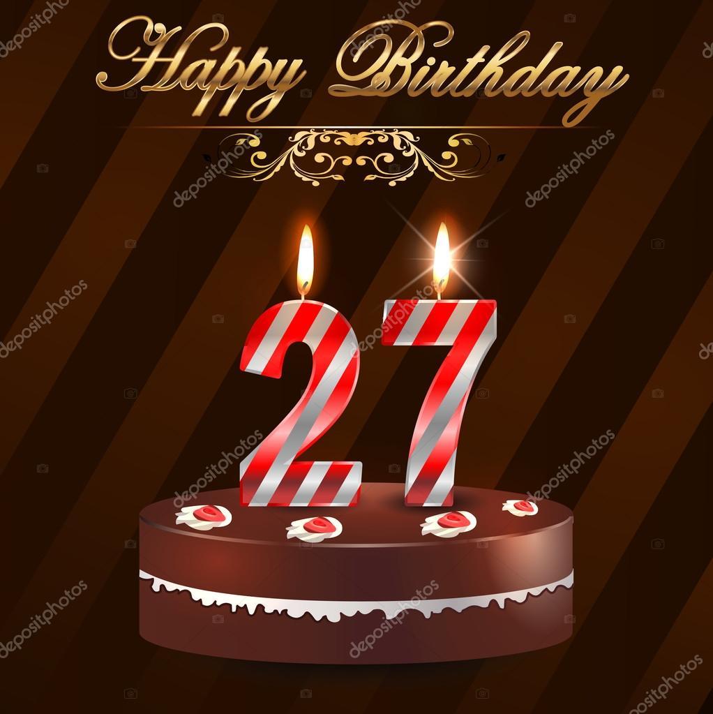 27 Jaar Gelukkige Verjaardag Hard Met Taart En Kaarsen 27ste