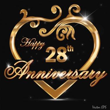28 year anniversary golden heart design card