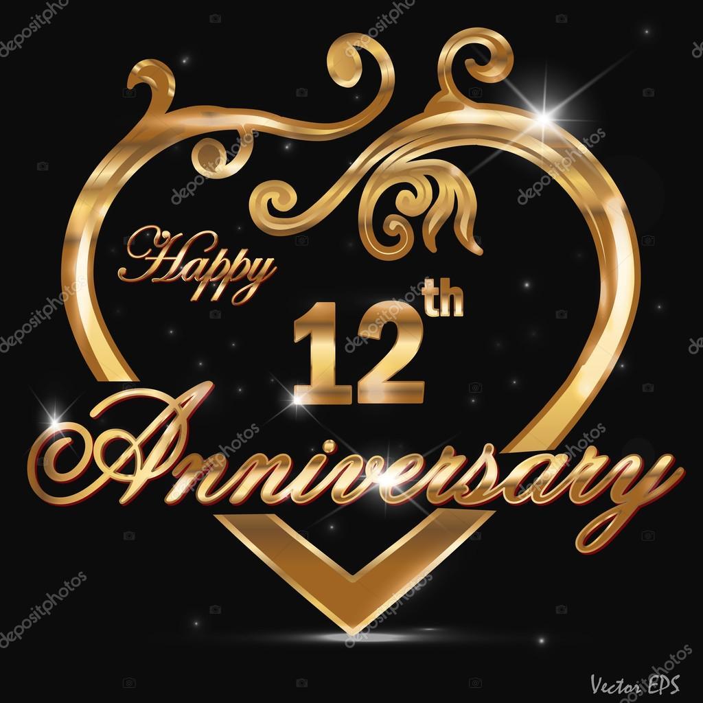 12 Year Anniversary Golden Heart Design Card Stock Vector C Atulvermabhai 48835961