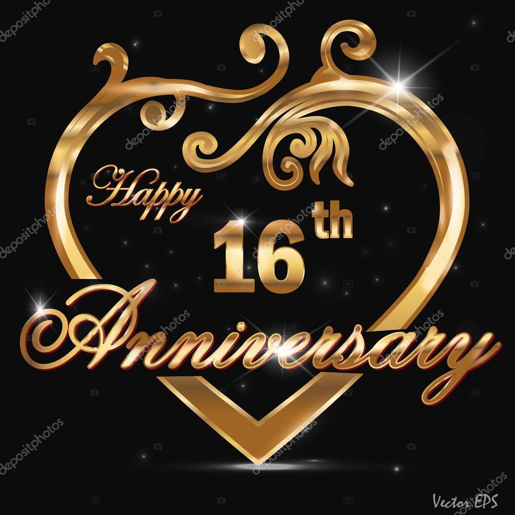 16 Verjaardag Gouden Jaaraanduiding 16e Verjaardag Decoratieve