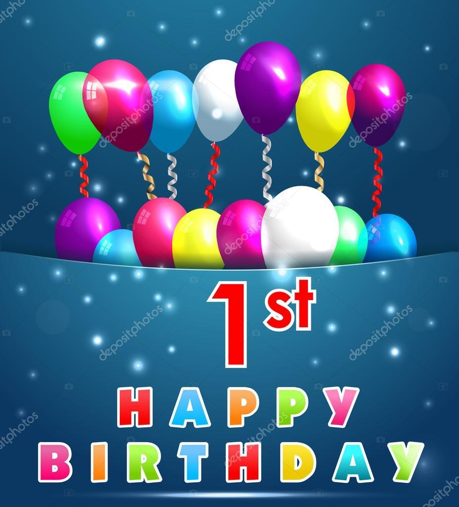 boldog 1 születésnapot 1 év boldog születésnapot kártya léggömbök és szalagok, 1  boldog 1 születésnapot