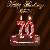 Glückwunschkarte zum 70. Geburtstag mit Kuchen und Kerzen, 70. Geburtstag - Vektor eps10
