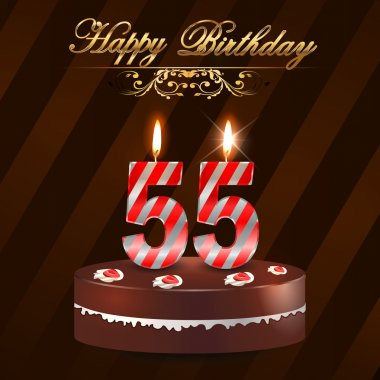 55 Year Happy Birthday Card with cake and candles, 55th birthday - vector EPS10