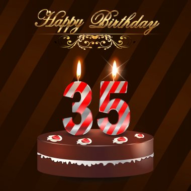 35 Year Happy Birthday Card with cake and candles, 35th birthday - vector EPS10