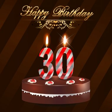 30 Year Happy Birthday Card with cake and candles, 30th birthday - vector EPS10